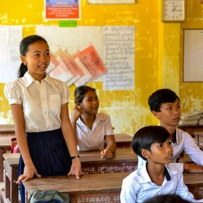 A student participates in class at one of our volunteer teaching placements in Cambodia